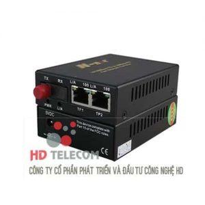 100M Media Converter with 1 Fiber Port & 2 Ethernet Ports