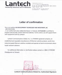 HDTelecom được chứng nhận là nhà phân phối độc quyền của LANTECH