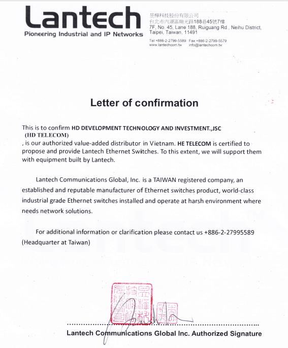 HDTelecom được chứng nhận là nhà phân phối độc quyền của LANTECH HDTelecom được chứng nhận là nhà phân phối độc quyền của LANTECH tại Việt Nam